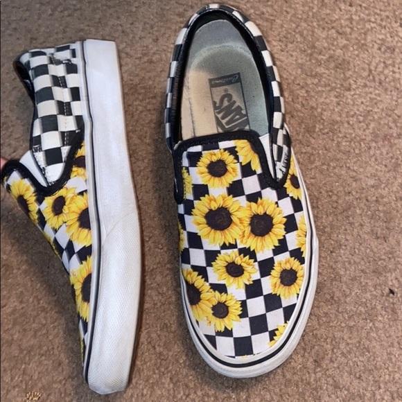 Vans Shoes   Custom Sunflower Checkered